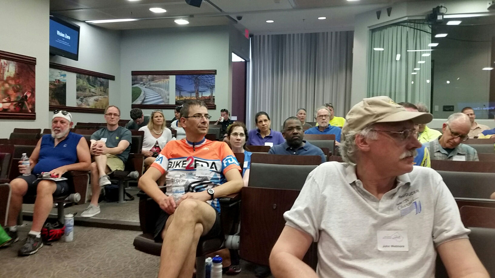 Bike enthusiasts at Montgomery Cooutny Council BUilding in Rockville, Md. to talk progress on bike issues and help shape future projects.(WTOP/Kathy Stewart)