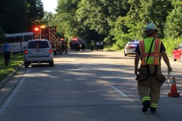 One person is dead and multiple people are injured after a crash involving a tour bus that has closed the George Washington Parkway Tuesday evening. (Courtesy Tony Castrilli/Fairfax County)