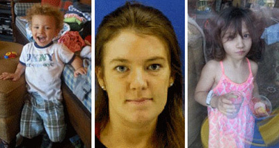 Jacob Hoggle, left, and Sarah Hoggle, right, were last seen in September 2014. Catherine Hoggle, center, has been charged in their deaths. (WTOP/File)