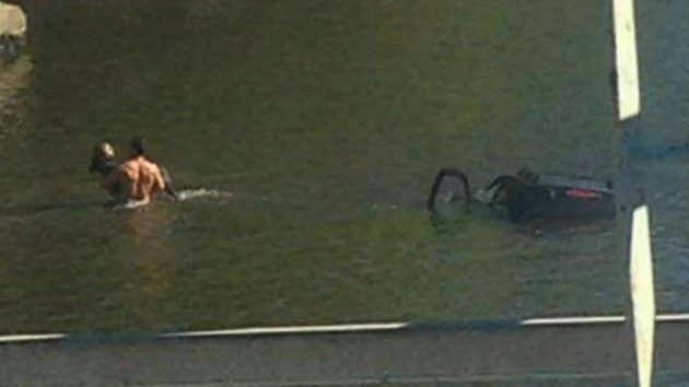 Man jumps into NJ river to rescue unconscious woman trapped in sinking SUV