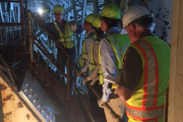 Workers inspect the underbelly of the Memorial Bridge. (Courtesy Office of Sen. Mark Warner)