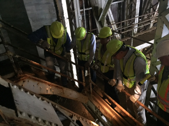 Workers inspect a portion of the Memorial Bridge. (Courtesy Office of Sen. Mark Warner)