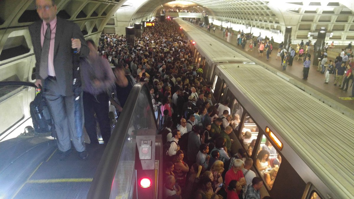 Rail riders crowd the platform at the L'Enfant Plaza Metro station, where the evening commute was plagued by major delays.  (Courtesy Anton Robbins via Twitter)