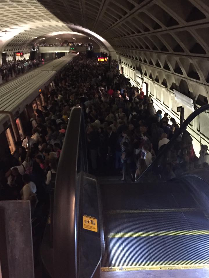 Many riders found themselves stuck in the crowd at the L'Enfant Plaza Metrorail station on Thursday, June 23, 2016. A track problem near an adjacent station triggered delays during evening rush hour. (Courtesy Lindey Haake )