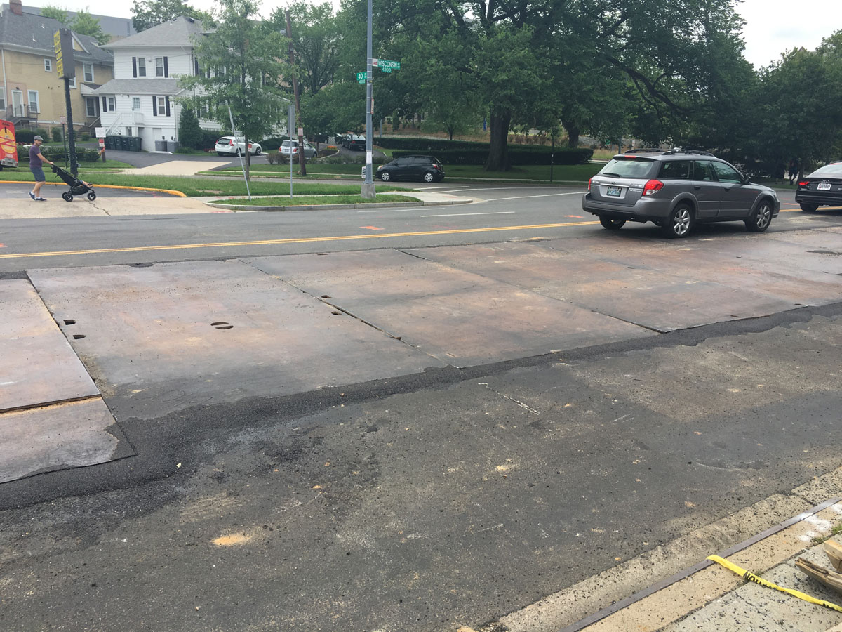 A Pepco spokesman says a construction panel that slipped out of place as a car passed over it on June 24, 2016 has since been replaced. Here's a look at the roadway on June 27, 2016. (WTOP/Mike Murillo)