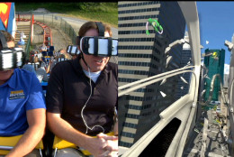 Riders wear wireless headsets that put them in a virtual reality world on Six Flags America's latest ride, SUPERMAN: Ride of Steel Virtual Reality Coaster. (Courtesy Six Flags America)