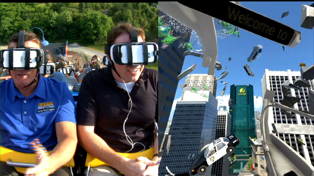 The wireless headsets give riders high-resolution imagery and 360-degree views that sync to the action of the coaster, which is shown here in this split screen. (Courtesy Six Flags America)