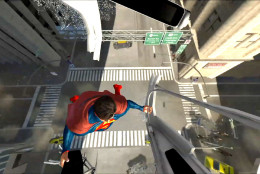 Superman comes to the rescue during this test run of Six Flags America's SUPERMAN: Ride of Steel Virtual Reality Coaster. (Courtesy Six Flags America)