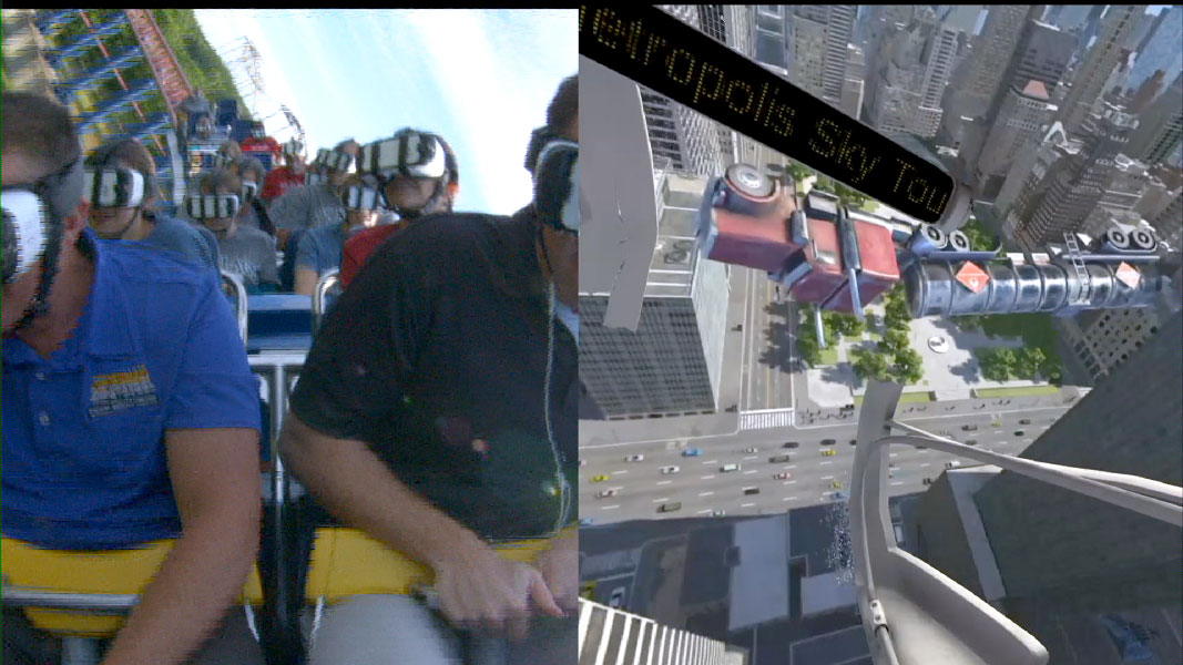 A semi truck goes flying as Superman and Lex Luthor battle — part of the riders' experience on SUPERMAN: Ride of Steel Virtual Reality Coaster ride at Six Flags America. (Courtesy Six Flags America)