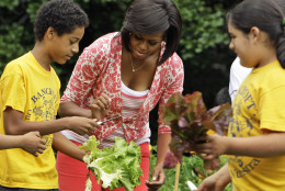 First Lady Michelle Obama works with fifth graders from Bancroft Elementary School as they harvest some of the vegetables that they planted in the garden on the South Lawn of The White House in Washington, Tuesday, June 16, 2009.(AP Photo/Alex Brandon)