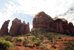 This Sep. 12, 2011 photo shows Cathedral Rock in Sedona, Ariz. A landmark of Sedona's skyline and one of the most photographed sights in Arizona, Cathedral Rock is located in the Coconino National Forest in Yavapai County.  (AP Photo/Charmaine Noronha)