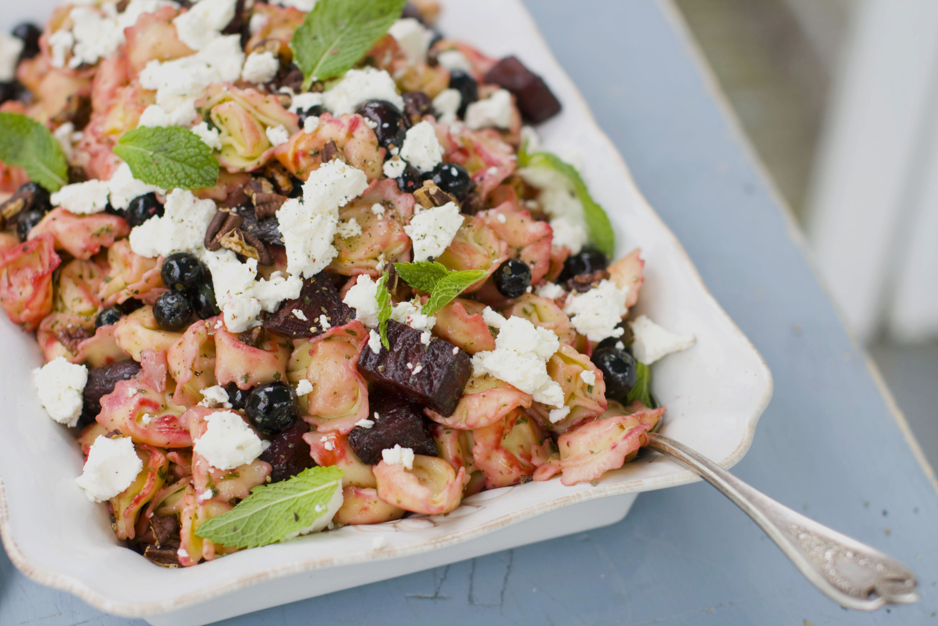 This image taken on May 14, 2012 in Concord, N.H. shows a roasted beet tortellini salad with fresh blueberries and soft goat cheese. (AP Photo/Matthew Mead)