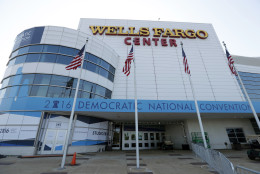 The outside of the Well Fargo Center is seen before the Democratic National Convention, Saturday, July 23, 2016 in Philadelphia. (AP Photo/Alex Brandon)