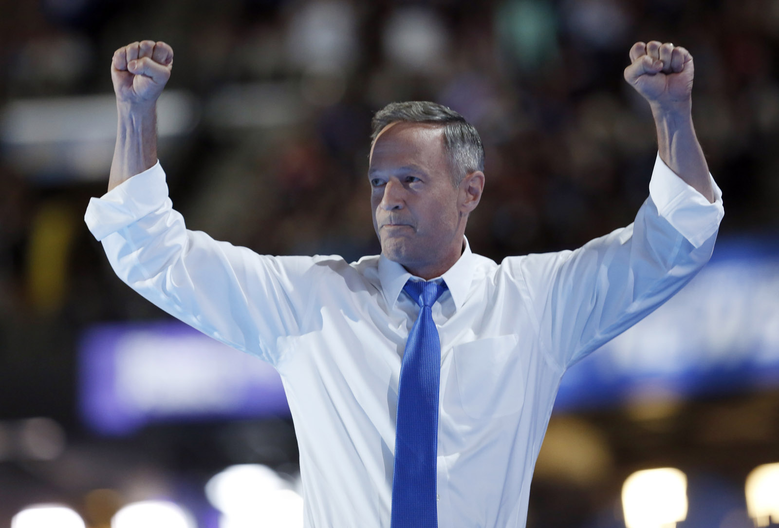 Former Democratic presidential candidate, former Maryland Gov. Martin O'Malley, pumps his arms after speaking at the third day session of the Democratic National Convention in Philadelphia, Wednesday, July 27, 2016. (AP Photo/Carolyn Kaster)