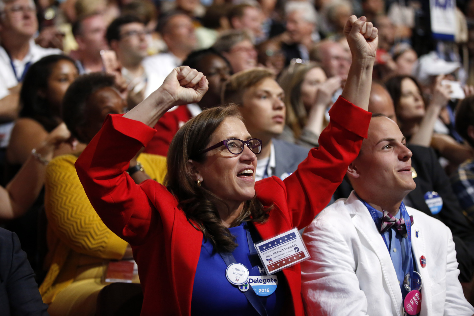 West Virginia delegate Natalie Tennant cheers during the third day session of the Democratic National Convention in Philadelphia, Wednesday, July 27, 2016. (AP Photo/Matt Rourke)