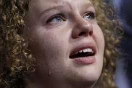 Delegate Sondra Milkie from Madison, Wis., cries during the final day of the Democratic National Convention in Philadelphia, Thursday, July 28, 2016. (AP Photo/John Locher)