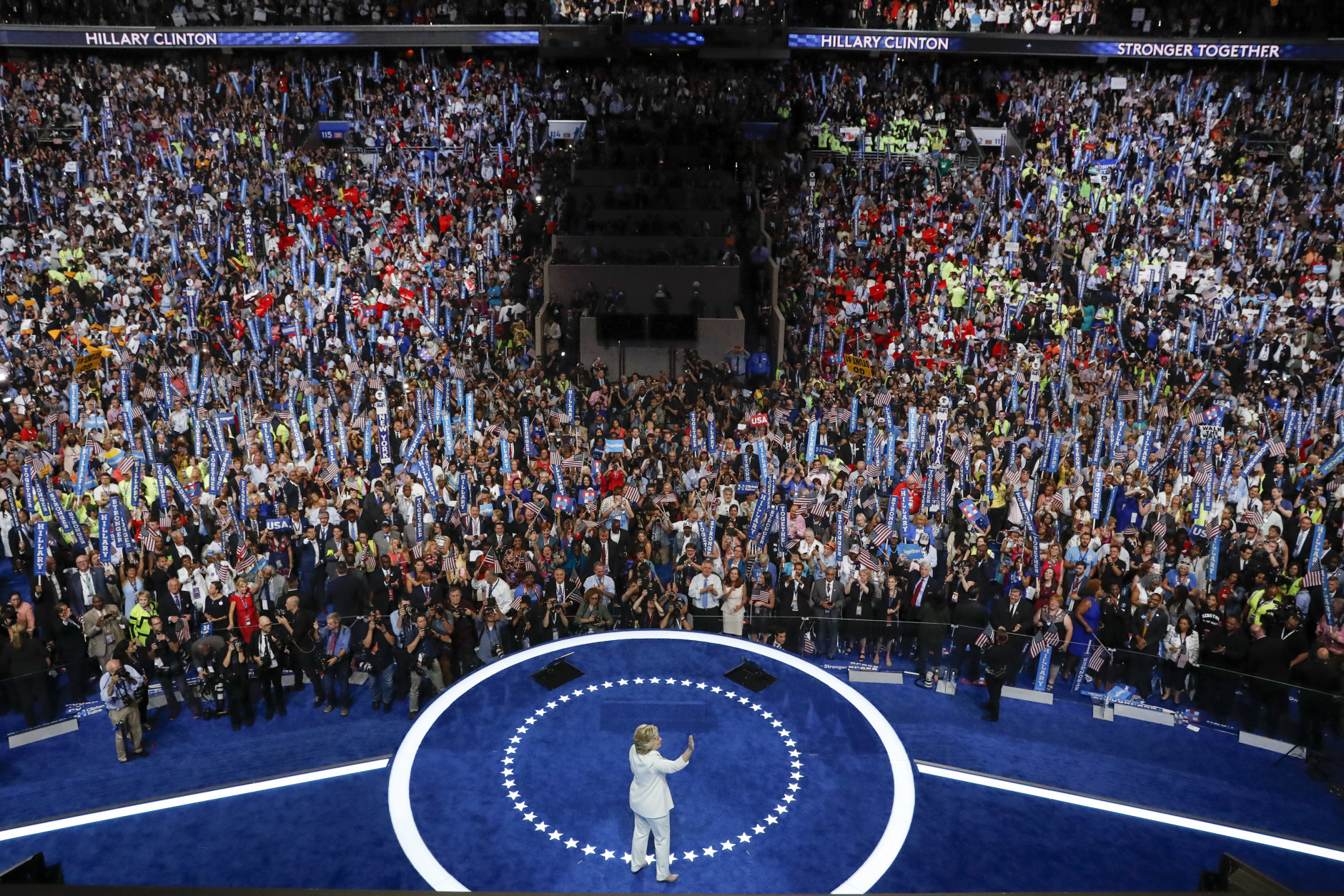 Democratic presidential nominee Hillary Clinton waves to delegates after her speech during the final day of the Democratic National Convention in Philadelphia, Thursday, July 28, 2016. (AP Photo/Mary Altaffer)