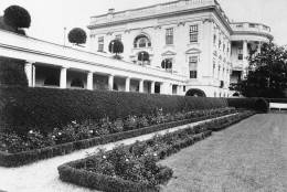 Shown in photo is White House South Portico and portion of Rose Garden in Washington, D.C. in 1921. (AP Photo)