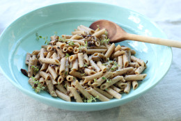 This July 20, 2015 photo shows mushroom miso pasta in Concord, N.H. This recipe tastes far richer, creamier and more sinful than it actually is. (AP Photo/Matthew Mead)