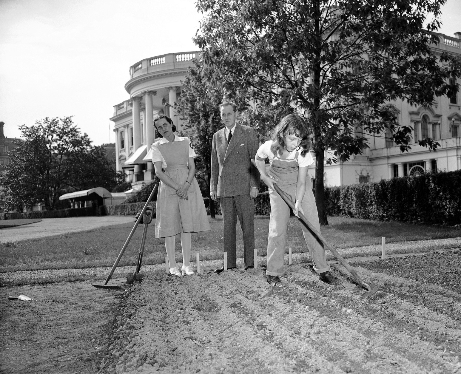 When Harry Hopkins and his wife, who live at the White House with his daughter, Diana, strolled out on the White House lawn in Washington on May 10, 1943, they found Diana, garbed in overalls, busily hoeing in her victory garden. Mrs. Hopkins had just returned from duty as a volunteer nurse and still was wearing her uniform. (AP Photo)