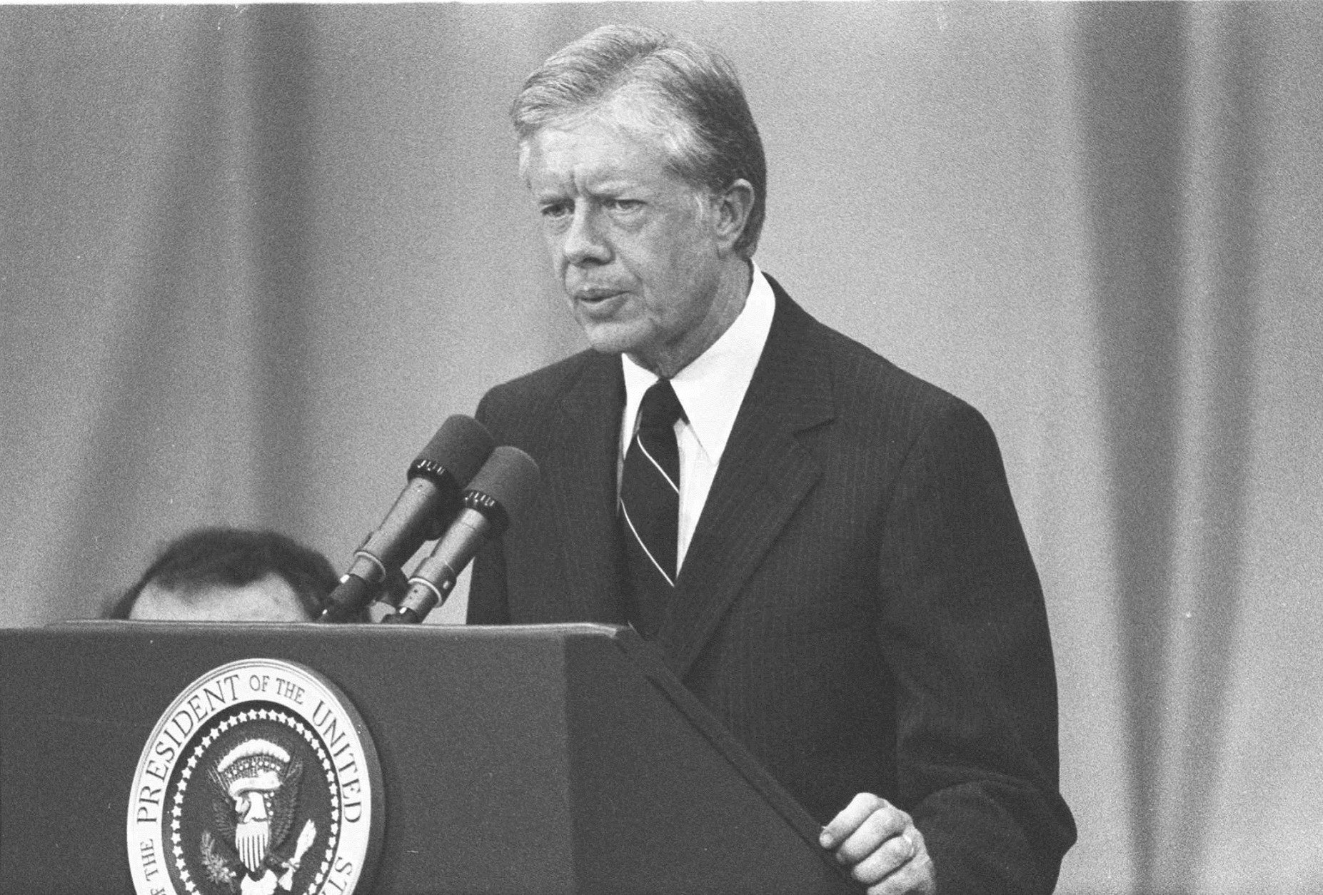 Jimmy Carter is shown in January 1977, speaking after  taking the oath of office as President of the United States. (AP Photo/stf)