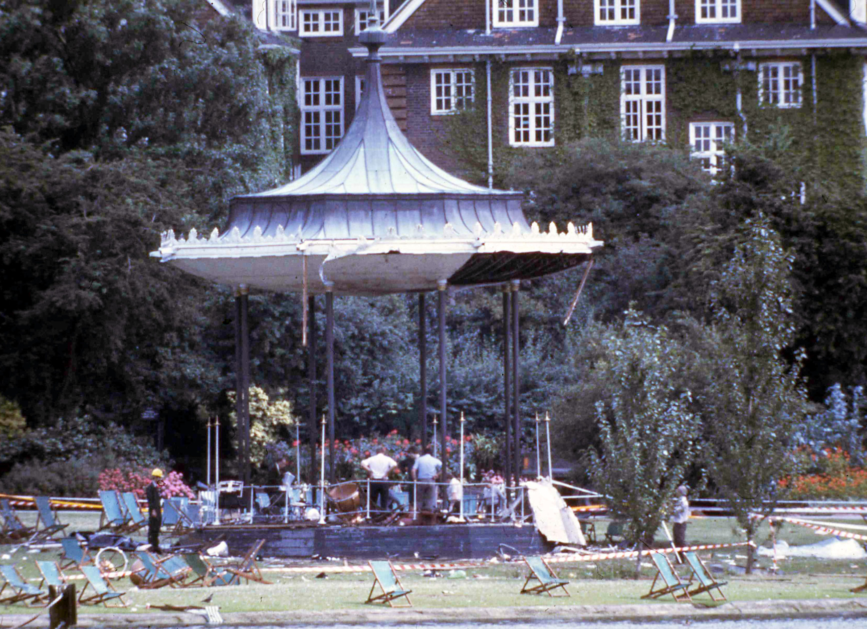 Six soldiers from the Royal Green jackets were killed by an IRA bomb under the Bandstand in Hyde Park, London, July 20, 1982, and a further 24 were injured. This bomb went off two hours after another bomb killed two soldiers and seven horses of the Queens Household Cavalry. (AP Photo/Staff/Kemp)