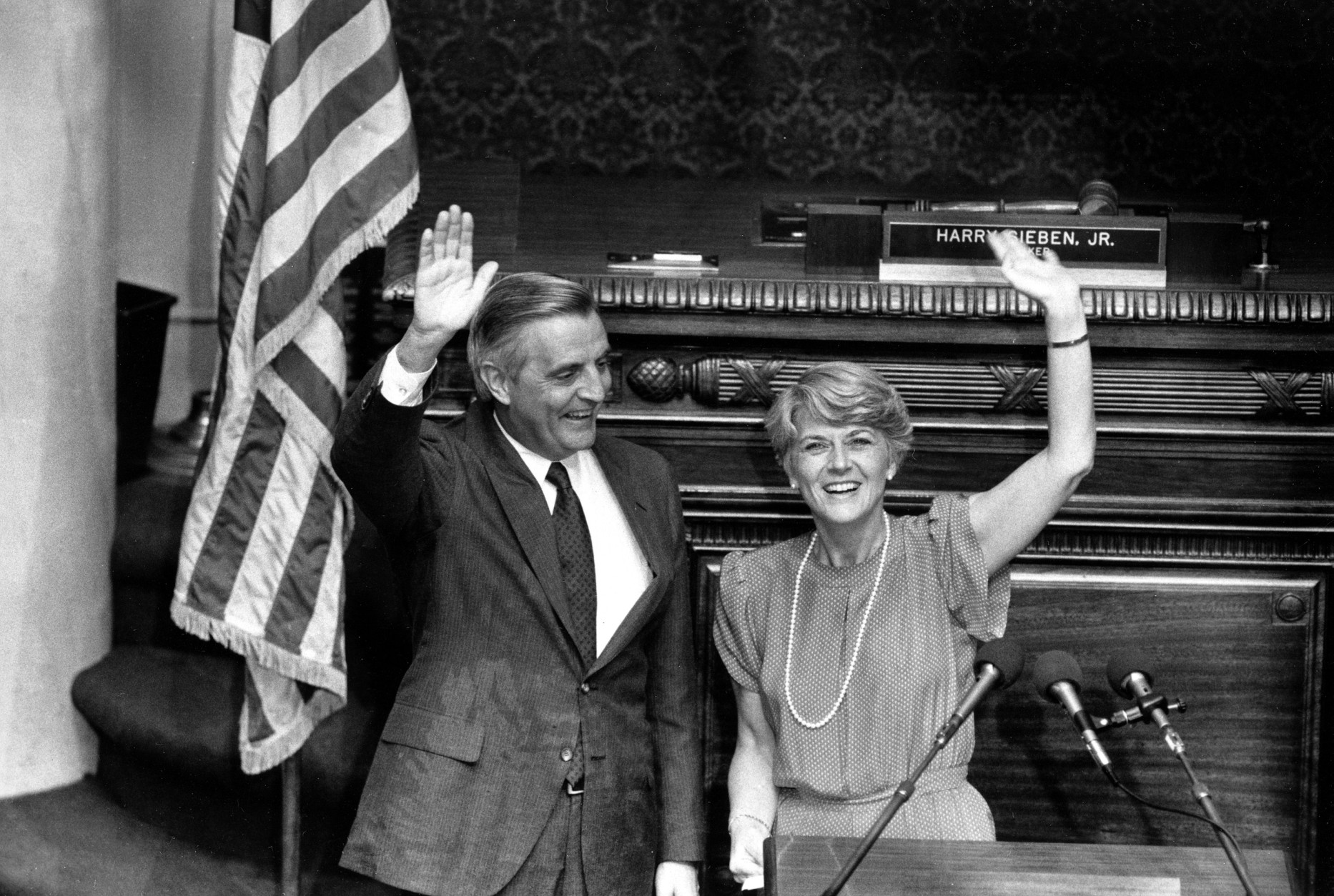 Vice Presidential candidate Walter Mondale, left, and congresswoman Geraldine Ferraro wave after Mondale announced Ferraro as his running mate in the chamber of the Minneapolis House of Representatives, St. Paul, Minn., July 12, 1984.  Ferraro becomes the first female vice presidential candidate of a major party in the history of the United States.  (AP Photo/Tom Olmscheid)