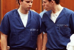 FILE--Lyle, left, and Erik Menendez leave the courtroom in Santa Monica, Calif., in this Aug. 6, 1990 file photo.   The brothers were found were found guilty of first-degree murder and conspiracy Wednesday, March 20, 1996,  of the August 1989 murders of their parents in their second trial in the Van Nuys Superior Court in Los Angeles. (AP Photo/Nick Ut, File)