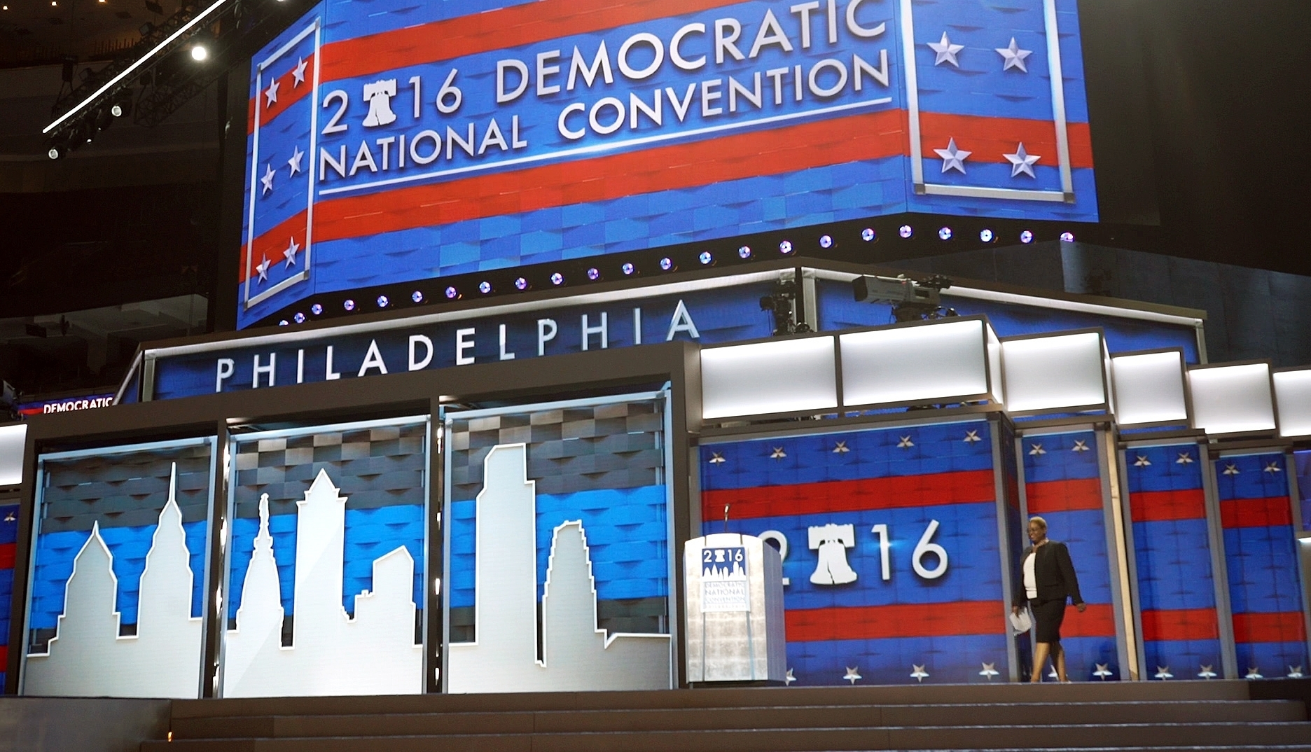 Leah Daughtry, CEO of the Democratic National Convention Committee, walks onto the stage Friday, July 22, 2016, at the Wells Fargo Center in Philadelphia, where the convention is scheduled to convene on Monday. (AP Photo/Dake Kang)