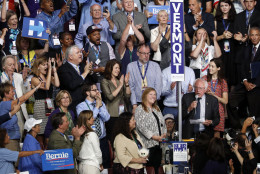 Sen. Bernie Sanders, I-VT., asks that Hillary Clinton become the unanimous choice for President of the United States during the second day of the Democratic National Convention in Philadelphia , Tuesday, July 26, 2016. (AP Photo/Mary Altaffer)