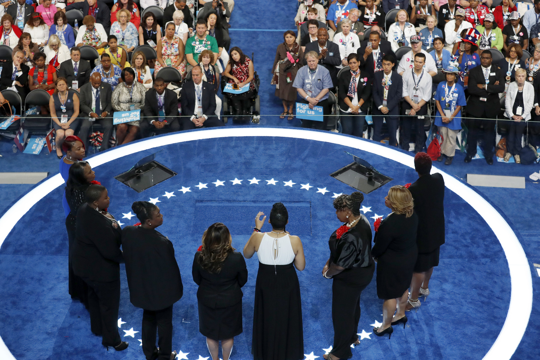 Sybrina Fulton, Geneva Reed-Veal, Lucy McBath, Gwen Carr, Cleopatra Pendleton, Maria Hamilton, Lezley McSpadden and Wanda Johnson from Mothers of the Movement speak during the second day of the Democratic National Convention in Philadelphia , Tuesday, July 26, 2016. (AP Photo/Mary Altaffer)