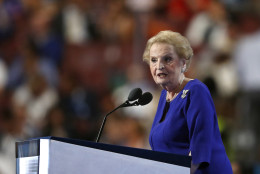 Former Secretary of State Madeleine Albright speaks during the second day of the Democratic National Convention in Philadelphia , Tuesday, July 26, 2016. (AP Photo/Paul Sancya)