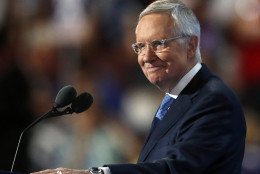 Senate Minority Leader Harry Reid of Nev., smiles from the podium as he speaks during the third day of the Democratic National Convention in Philadelphia , Wednesday, July 27, 2016. (AP Photo/Paul Sancya)
