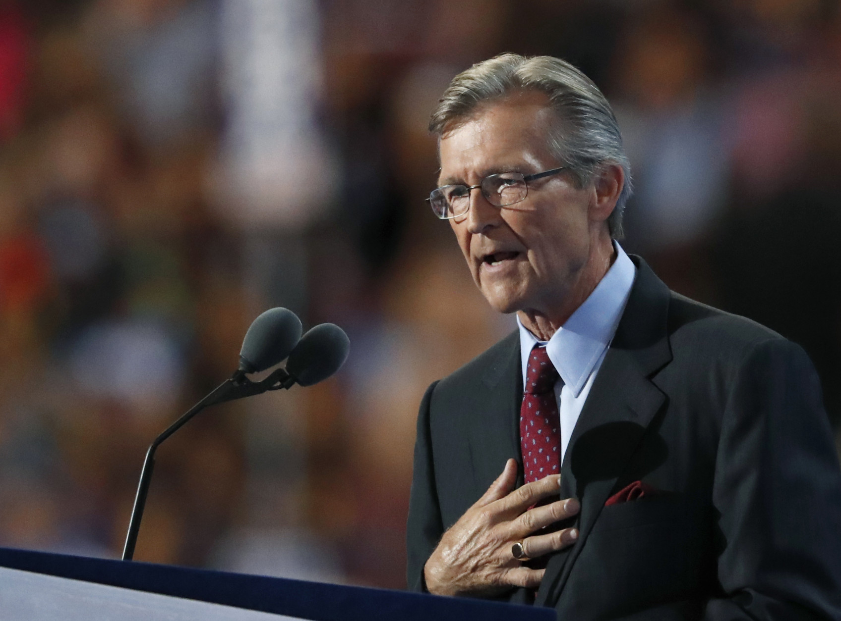 Rear Admiral John Hutson (Ret.), speaks during the third day of the Democratic National Convention in Philadelphia , Wednesday, July 27, 2016. (AP Photo/Paul Sancya)