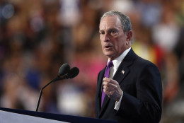 Former New York Mayor Michael Bloomberg speaks during the third day of the Democratic National Convention in Philadelphia , Wednesday, July 27, 2016. (AP Photo/Paul Sancya)