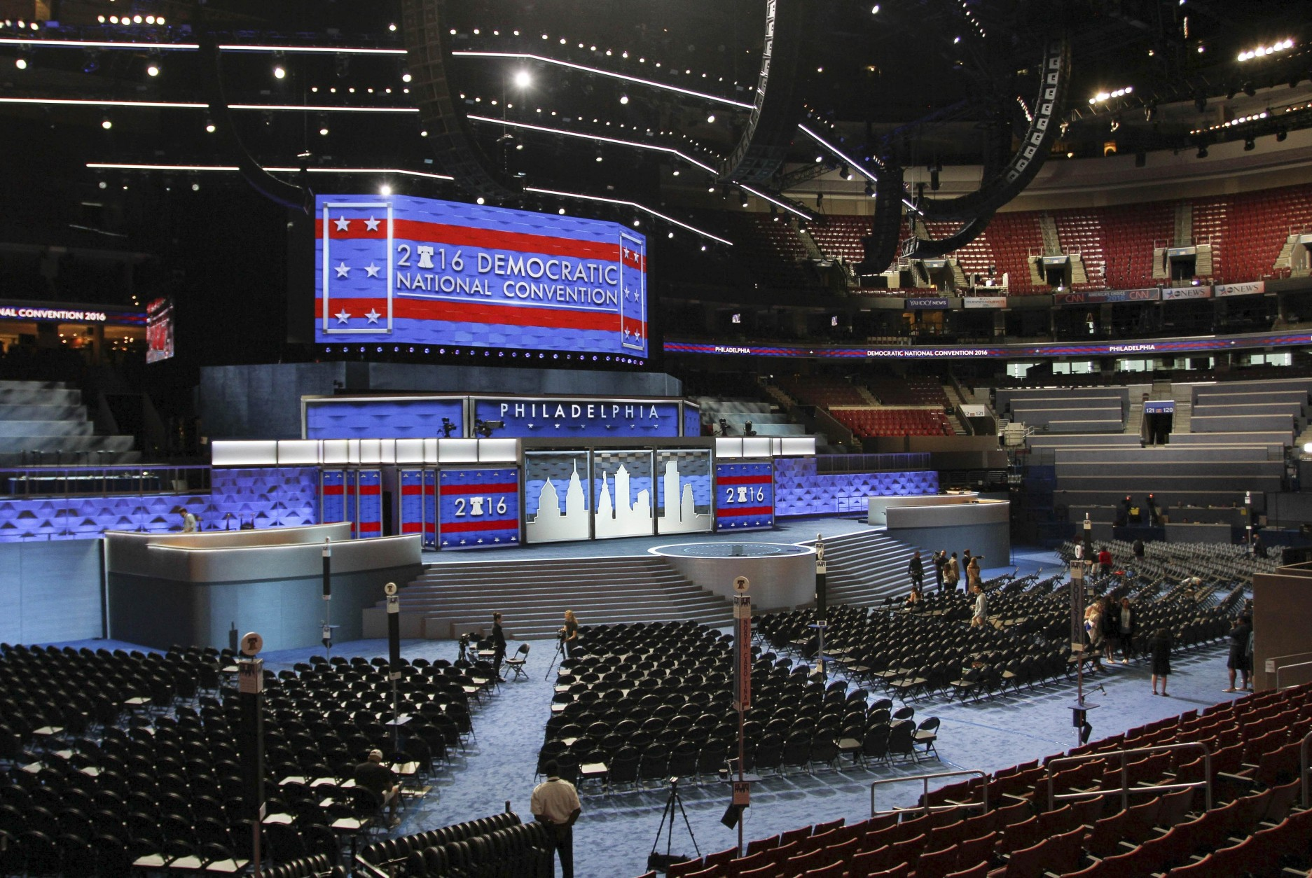 The stage stands ready for the start of the Democratic National Convention at the Wells Fargo Center, Friday, July 22, 2016 in Philadelphia. The convention is scheduled to convene on Monday. (AP Photo/Dake Kang)