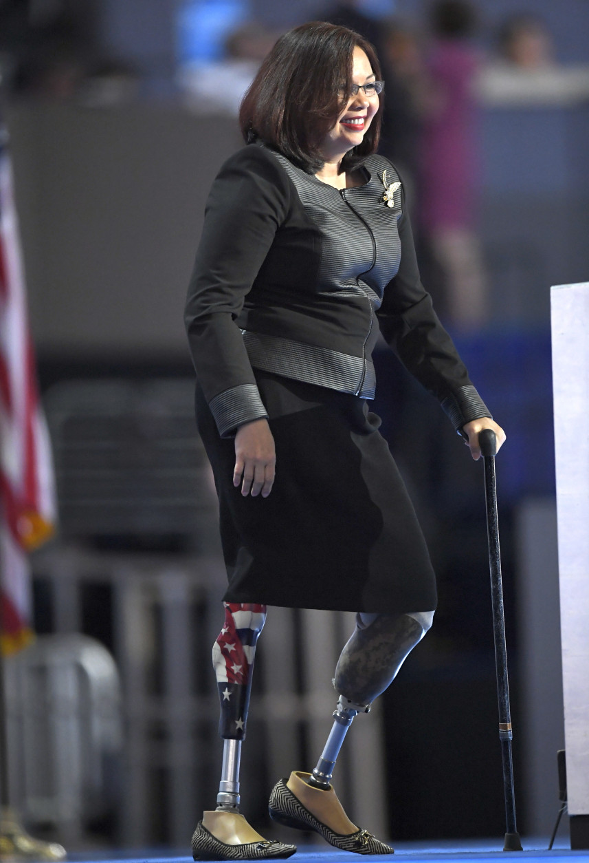 Rep. Tammy Duckworth, D-Ill., takes the stage during the final day of the Democratic National Convention in Philadelphia , Thursday, July 28, 2016. (AP Photo/Mark J. Terrill)