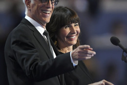 Actors Ted Danson and Mary Steenburgen appear during the final day of the Democratic National Convention in Philadelphia , Thursday, July 28, 2016. (AP Photo/Mark J. Terrill)