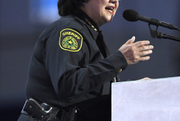 Dallas, Texas Sheriff Lupe Valdez speaks during the final day of the Democratic National Convention in Philadelphia , Thursday, July 28, 2016. (AP Photo/Mark J. Terrill)