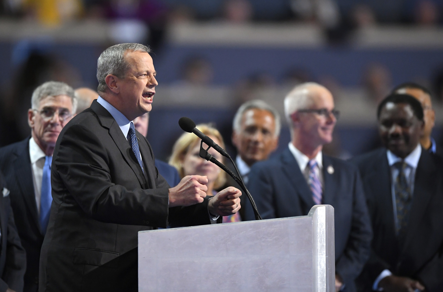 Gen. John Allen, (Ret.) speaks during the final day of the Democratic National Convention in Philadelphia , Thursday, July 28, 2016. (AP Photo/Mark J. Terrill)