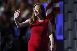 Chelsea Clinton, daughter of Democratic presidential nominee Hillary Clinton, walks to the podium before speaking during the final day of the Democratic National Convention in Philadelphia , Thursday, July 28, 2016. (AP Photo/Paul Sancya)