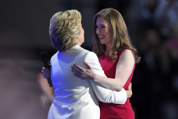 Chelsea Clinton, embraces her mother, Democratic presidential nominee Hillary Clinton, during the final day of the Democratic National Convention in Philadelphia , Thursday, July 28, 2016. (AP Photo/Mark J. Terrill)