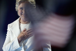 Democratic presidential nominee Hillary Clinton acknowledges applause on stage during the final day of the Democratic National Convention in Philadelphia , Thursday, July 28, 2016. (AP Photo/Paul Sancya)