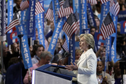 Democratic presidential nominee Hillary Clinton speaks during the final day of the Democratic National Convention, Thursday, July 28, 2016, in Philadelphia. (AP Photo/John Locher)