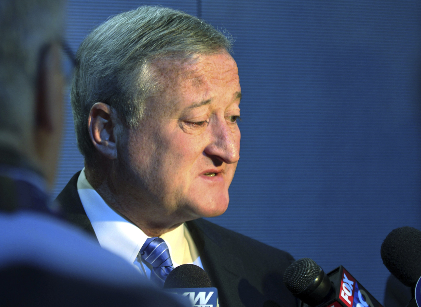Philadelphia Mayor Jim Kenney speaks after the Democratic National Convention Committee unveiled their stage and podium at the Wells Fargo Center, Friday, July 22, 2016. The convention is scheduled to convene on Monday. (AP Photo/Dake Kang)