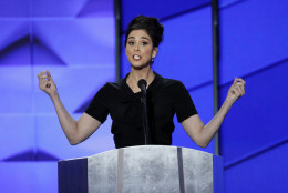 Comedian Sarah Silverman speaks during the first day of the Democratic National Convention in Philadelphia , Monday, July 25, 2016. (AP Photo/J. Scott Applewhite)