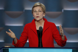 Sen. Elizabeth Warren, D-Mass., speaks during the first day of the Democratic National Convention in Philadelphia , Monday, July 25, 2016. (AP Photo/J. Scott Applewhite)