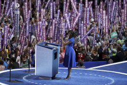 First Lady Michelle Obama speaks to delegates during the first day of the Democratic National Convention in Philadelphia , Monday, July 25, 2016. (AP Photo/John Locher)