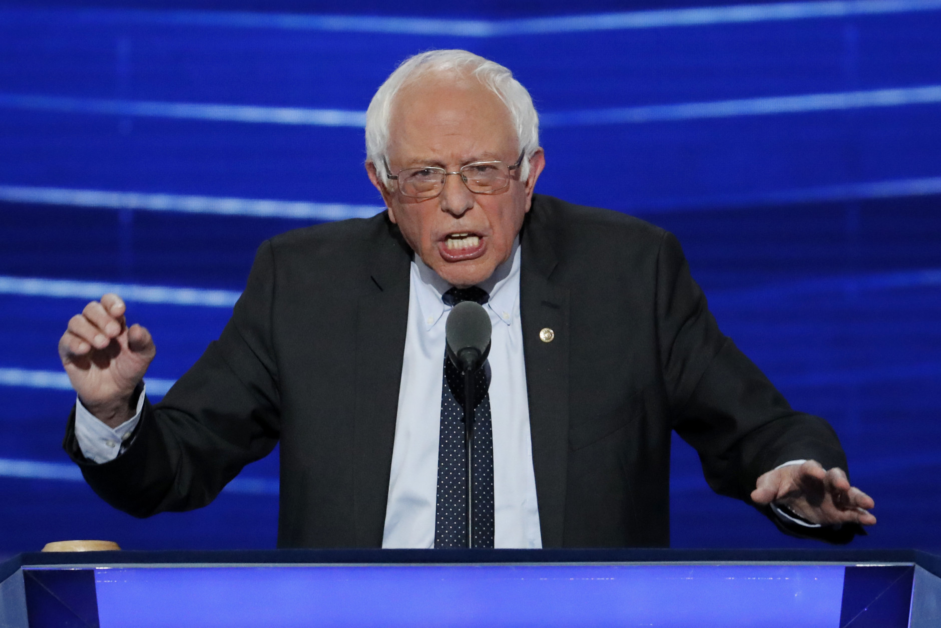 Former Democratic presidential candidate, Sen. Bernie Sanders, I-Vt., speaks during the first day of the Democratic National Convention in Philadelphia , Monday, July 25, 2016. (AP Photo/J. Scott Applewhite)