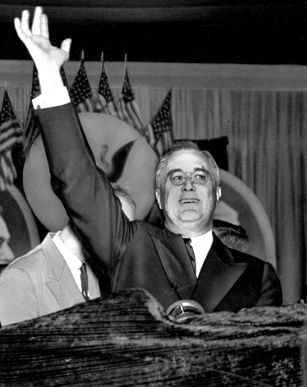 FILE – In this June 23, 1936, file photo, President Franklin D. Roosevelt, running for re-election, waves during the Democratic National Convention held at Convention Hall in Philadelphia. Philadelphia hosted the Democratic National Convention in 1936 and 1948 and the Republican National Convention in 1865, 1872, 1900, 1940, 1948 and 2000, and five of the eight candidates chosen were victorious in November. Philadelphia is hosting the Democratic National Convention from Monday through Thursday, July 25 to 28, 2016. (AP Photo, File)